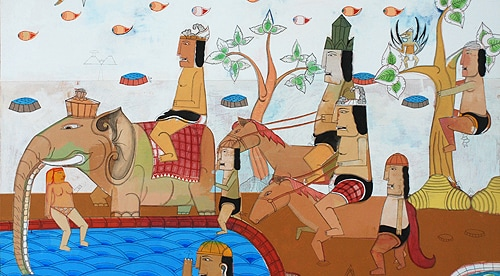 Teja Astawa, 'Iring-Iringan Sang Pangeran, King's Recreation', 2010, acrylic on canvas, 150 x 200 cm, Tonyraka Art Gallery.