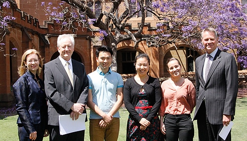 (L-R) Parliamentary Secretary for Tertiary Education and Skills Gabrielle Upton; University of Sydney  Acting Vice-Chancellor and Provost Stephen Garton; international students Xiao Ming Wu, Yun Liu and Gina Vence; and Acting NSW Premier and Minister for Trade and Investment Andrew Stoner at today's announcement.