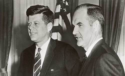 George McGovern (right) with John F Kennedy.