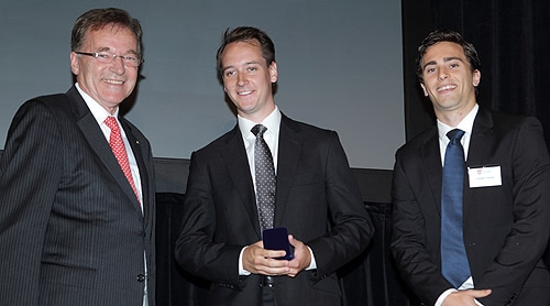 (L-R) University of Sydney Deputy Chancellor Alan Cameron, with Convocation Medal winners Patrick Bateman and Andrew Thomas.