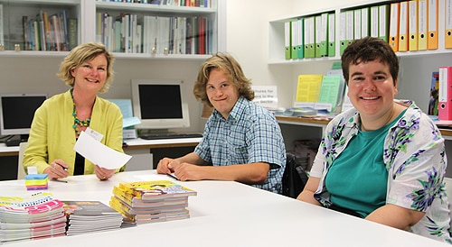 (L-R) Julie Doherty, Careers Development Manager, and students Chris Dyke and Sarah Butler.
