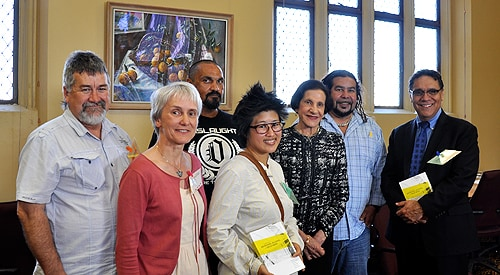 (L-R) People involved in the handbook with members of the University of Sydney: student Bonny Gibson, Professor Kate Conigrave, student Peter Jack, Dr Kylie Lee, Professor Marie Bashir, editor Jimmy Perry and Deputy Vice-Chancellor (Indigenous Strategy and Services) Professor Shane Houston.