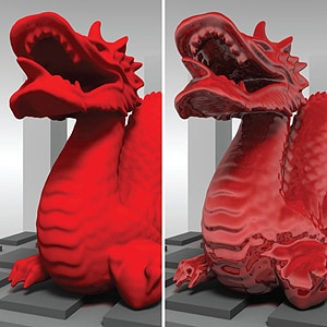 Two red dragons, one completely matte (left), and one glossy (right). The dragon on the right appears compellingly glossy especially in surface regions that generate lowlights, seen as locally dark surface regions that are not apparent on the matte counterpart. [Image: Juno Kim.]