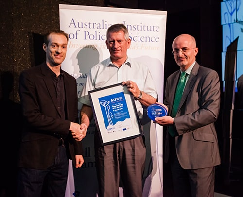 Left to Right: The University of Sydney's Dr Dennis Stello (far left) receives his Young Talll Poppy of the Year Award accompanied by selection committee members  Professor John O'Connor from the University of Newcastle and Professor Clive Baldock from Macquarie University.