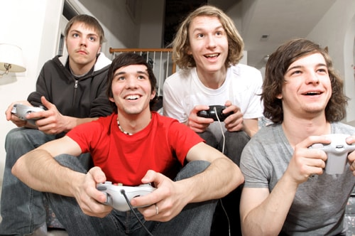 image of students playing video games