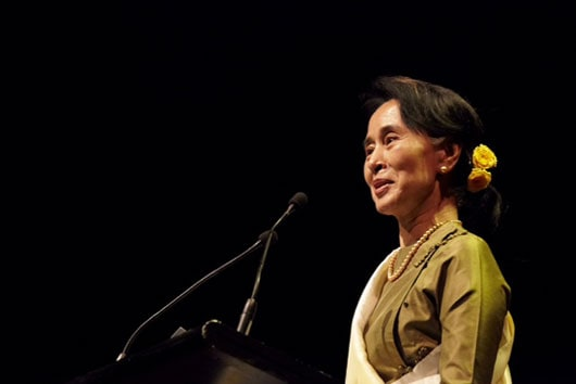 Daw Aung San Suu Kyi speaking at the Sydney Opera House delivering her first speech in Australia.