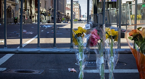 The site of the Boston Marathon bombing after the attack. [Image: Flickr/Joe Spurr, used under the Creative Commons licence]