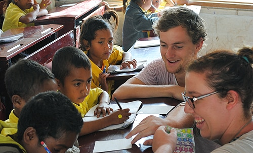 The students spent a week rotating through placements in a clinic, primary school and farm in the community of Maubisse, Timor-Leste .