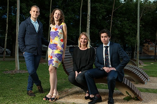 Four of the five students headed to Copenhagen on 7 January 2014 to take part in the inaugural MADE by the Opera House tertiary exchange program between Australia and Denmark are from the University of Sydney: (L-R) Robert Martin, Jennifer McMaster, Laura Craft and Matthew Wells  [image:Maja Baska].