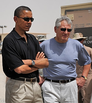 US President Barack Obama and the incoming defence secretary Chuck Hagel.