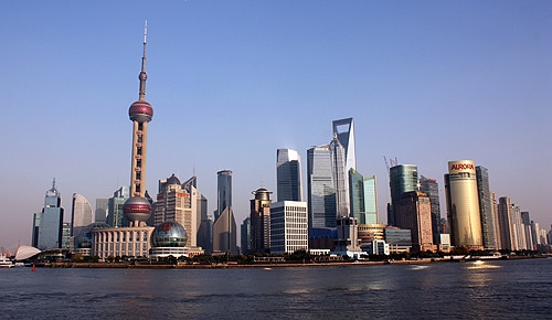 The Bund district in Shanghai, China.