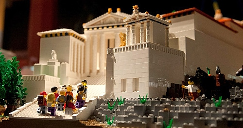 The iconic Acropolis of Athens, recreated in LEGO.