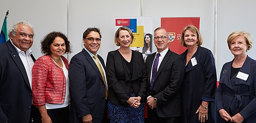 (L-R) Dr Tom Calma, Professor Sandra Eades, Professor Shane Houston, The Hon Sharon Bird, Dr Michael Spence, Professor Jill White and Professor Gillian Triggs.