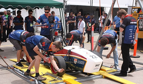 The Sydney Motorsport team working on the car on race day.