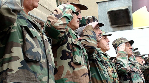 Senior members of the Syrian military. [Image: Elizabeth Arrott, Voice of America]