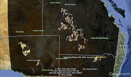 a google earth map showing the regions prospective for opal light vs non