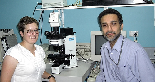 Researchers Christine Austin and Dr Manish Arora.
