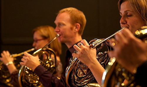 French horn players are one of the most at-risk orchestral groups for developing noise-induced hearing loss. Co-author Ian O'Brien (centre) is a horn player himself.