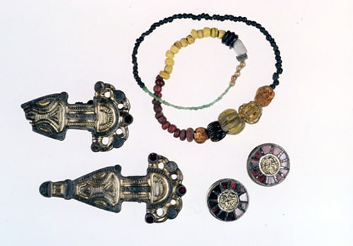 Grave goods used to help date victims of the Plague of Justinian. The dated skeletons were then used to discover the cause of the plague. Image: McMaster University.