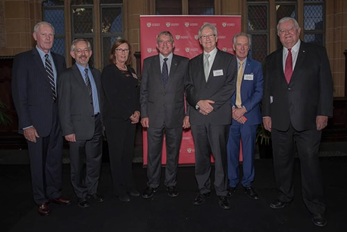 L to R Dr Stuart McGill, Prof Trevor Hambley, Prof Diane Mayer, Ian MacFarlane MP, Prof Stephen  Garton,  Prof  Archie Johnston,  Prof  Ian Chubb at the official launch.