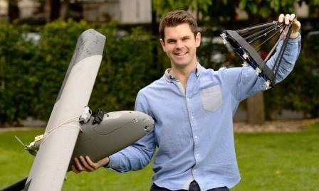 Daniel Wilson PhD researcher with UAV and drogue
