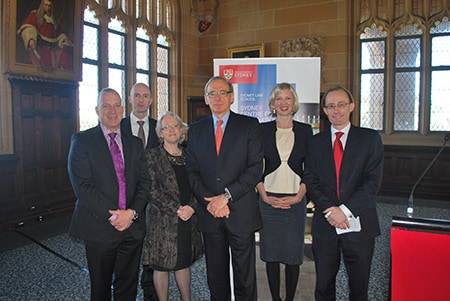 From left to right: The Vice-Chancellor, Dr Michael Spence, Associate Professor Tim Stephens, The Dean, Professor Joellen Riley, The Hon. Bob Carr, Associate Professor Fleur Johns and Professor Ben Saul.