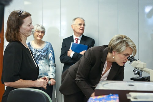 Tanya Plibersek looking through a microscope