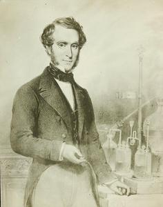 Drawing of Professor John Smith in his chemistry lab. Artist unknown, Photo courtesy of University of Sydney Archives, Copyright University of Sydney