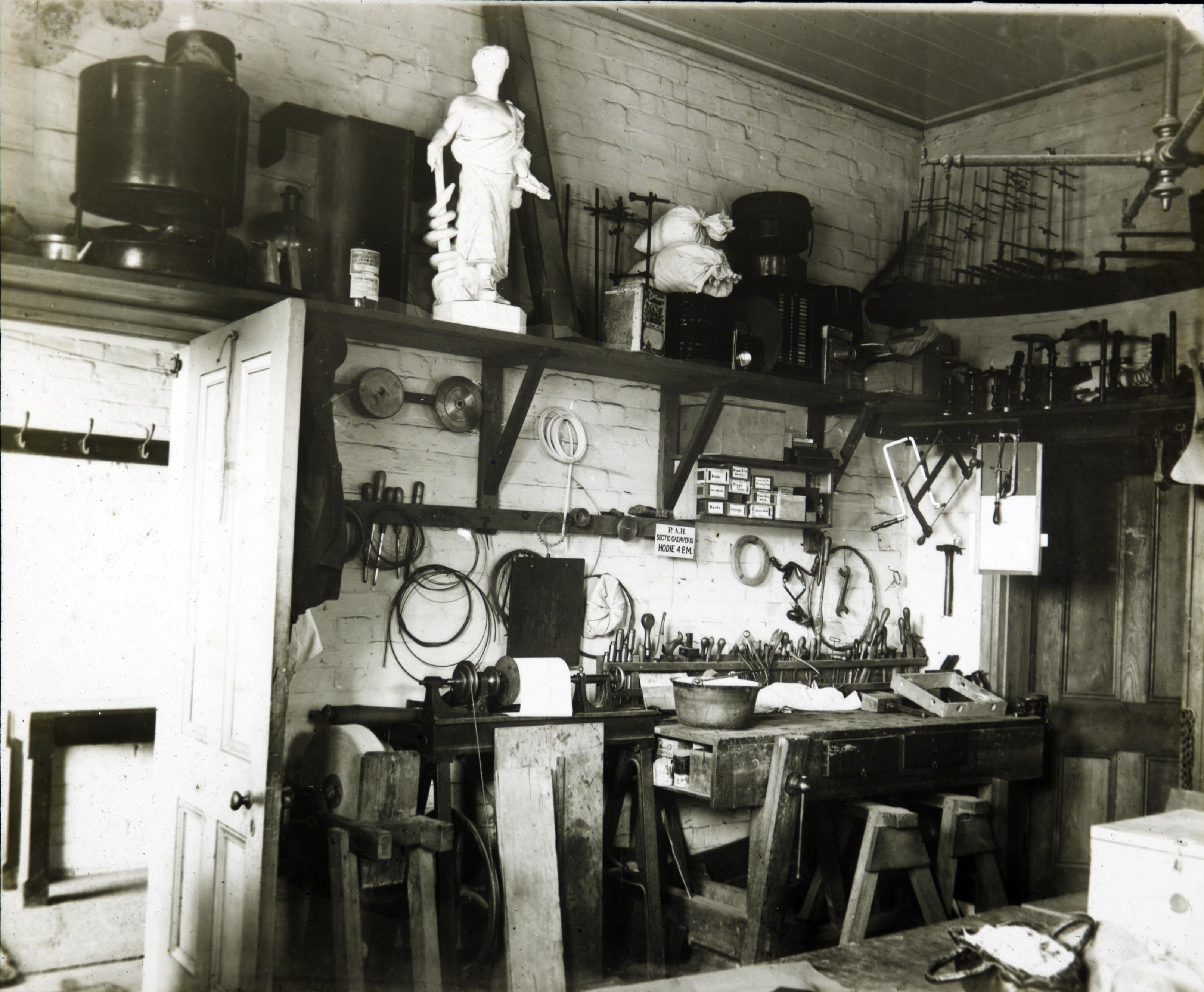 Anderson Stuart's workshop in 'the Cottage', 1884.