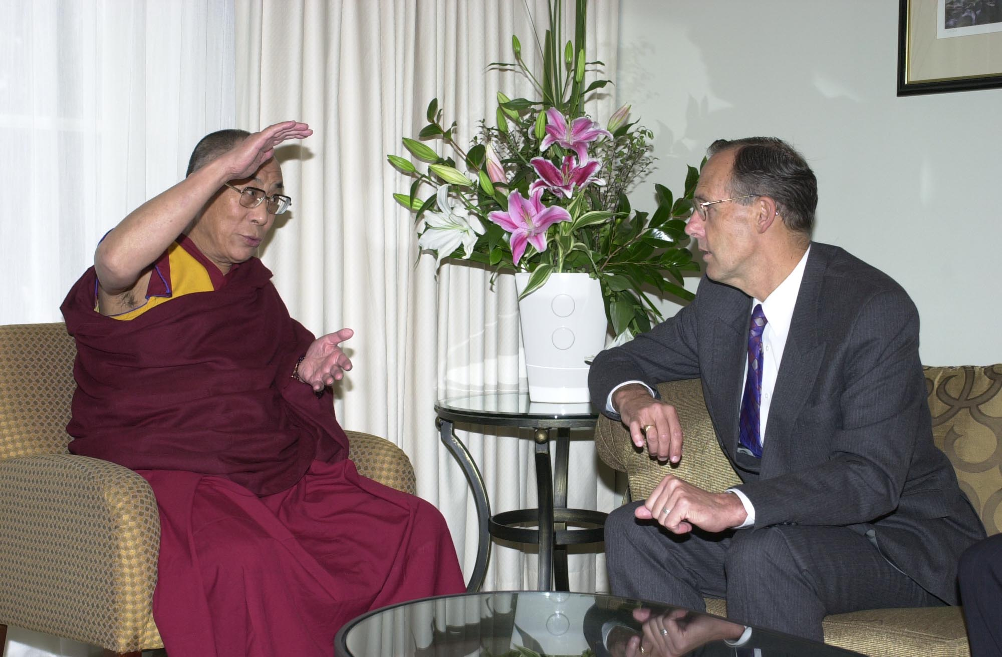 Australian Greens Senator Bob Brown and the Dalai Lama, Photo courtesy of the Office of Senator Bob Brown