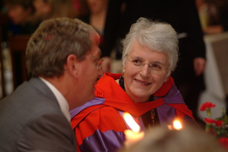 Janet McCredie at The Womens College Chancellors Dinner for academic prizes on 19 April 2004 (then Chair of The Womens College Council) with fellow Council member, Mr Dick Persson., Photo courtesy of The Womens College