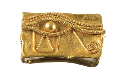Gold Eye of Horus bead, NM65.66
