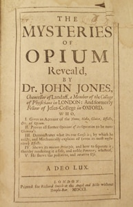 John Jones The Mysteries of Opium Revealed. Rare Books collection