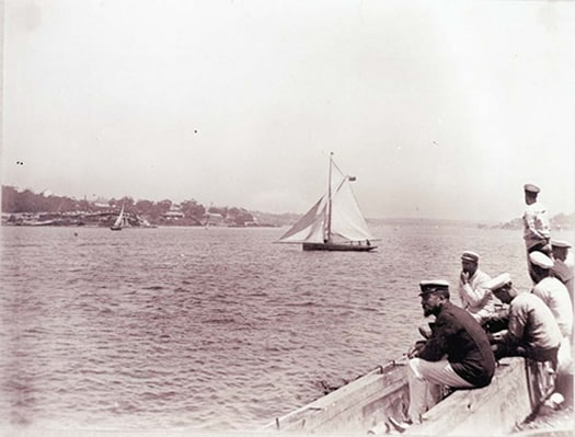 Sailors watching a yacht race, Sydney Harbour