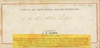 Back of Stereoscopic card