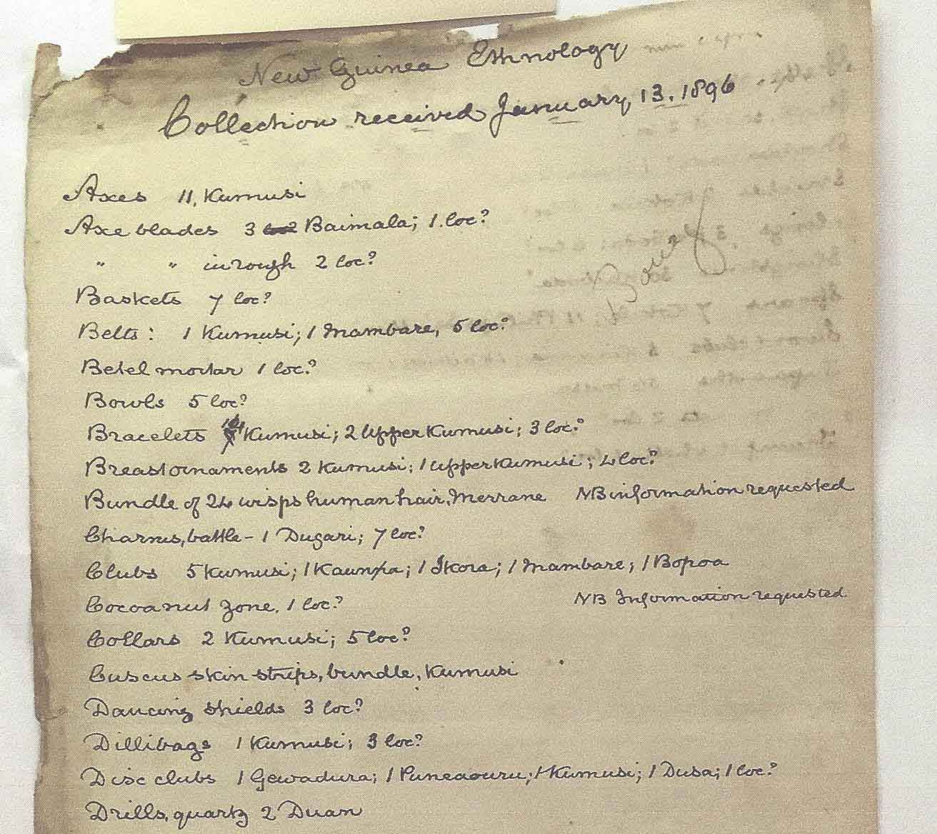 Charles de Vis list of contents of Transfer 55.