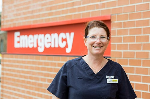 Associate Professor Kate Curtis outside the Emergency Department at St George Hospital