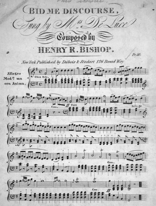 Bid Me Discourse Sung By Mrs De Luce Composed By Henry R Bishop New York Dubois Stodart N D Image Courtesy Of The Lester S Levy Collection Of