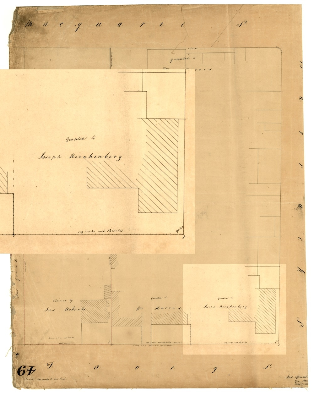 77e1f2dc69e Joseph Reichenberg's property, on the west corner of Davey and Barrack  Streets, Hobart Town, 1841; Archives Office of Tasmania