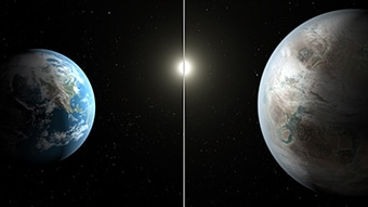 TArtisitc impression of Kepler 452b with Earth