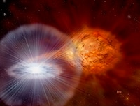 Artist's conception of a star system responsible for a nova. A stream of matter is being drawn from the donor star (right) by the compact white dwarf (left). Credit: David A. Hardy/ astroart.org