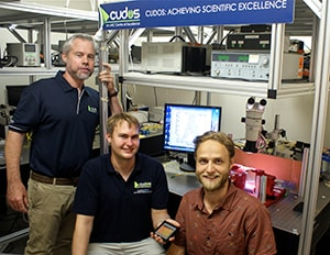Professor Benjamin Eggleton, Thomas Büttner and Moritz Merklein, researchers from CUDOS at the University of Sydney with the chalcogenide photonic chip.