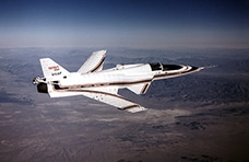 X-29 at an angle that highlights the forward swept wings. NASA photo by Larry Sammons