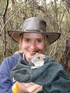 Dr Grainne Cleary, from the School of Biological Sciences, holds a native bush rat, Bogul. Associate Professor Peter Banks and Dr Grainne Cleary are leading a Bogul reintroduction project in bushland around Sydney Harbour in July.