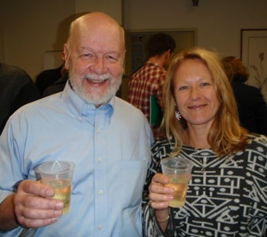 Professor Rick Shine and Associate Professor Madeleine Beekman celebrating their fellowships