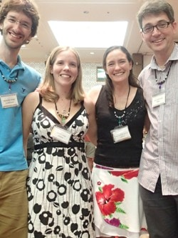Spider lovers: Shawn Wilder, Lizzy Lowe, Francesca van den Berg and Sean Blamires at the conference dinner.