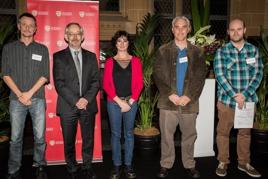 Representatives of the award winning first-year biology team, with the Dean of Science, at the Faculty of Science Prize night.