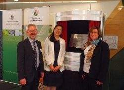 Dean Trevor Hambley, Associate Professor Min Chen and Emeritus Professor Robyn Overall at the Centre opening in Canberra