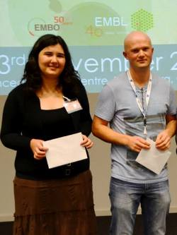 Isobel Ronai and Joshua Christie, poster prize winners at the 15th EMBL PhD symposium