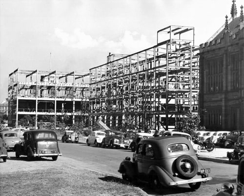 Chemistry building during construction, August 1957